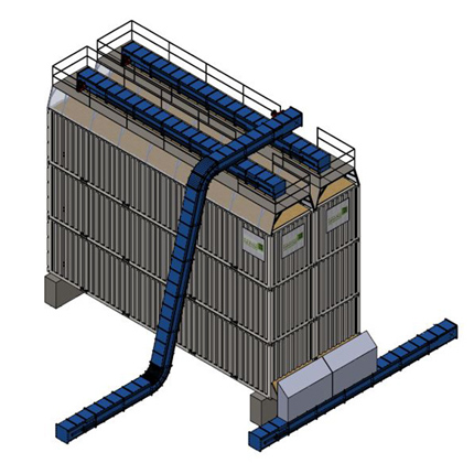 horizontal silo stacked for biomass storage or bulk material storage; with live floors.