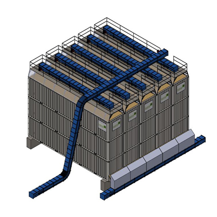 walking floor container bins for bulk material storage - also called a silo, a horizontal silo, a biomass silo, or a hopper