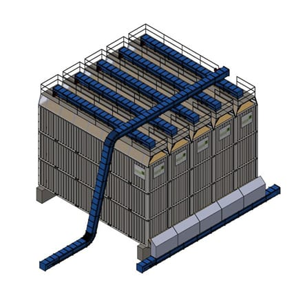 stacked modular storage from reused sea containers