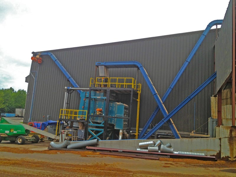 mulch screening system - to biomass silo