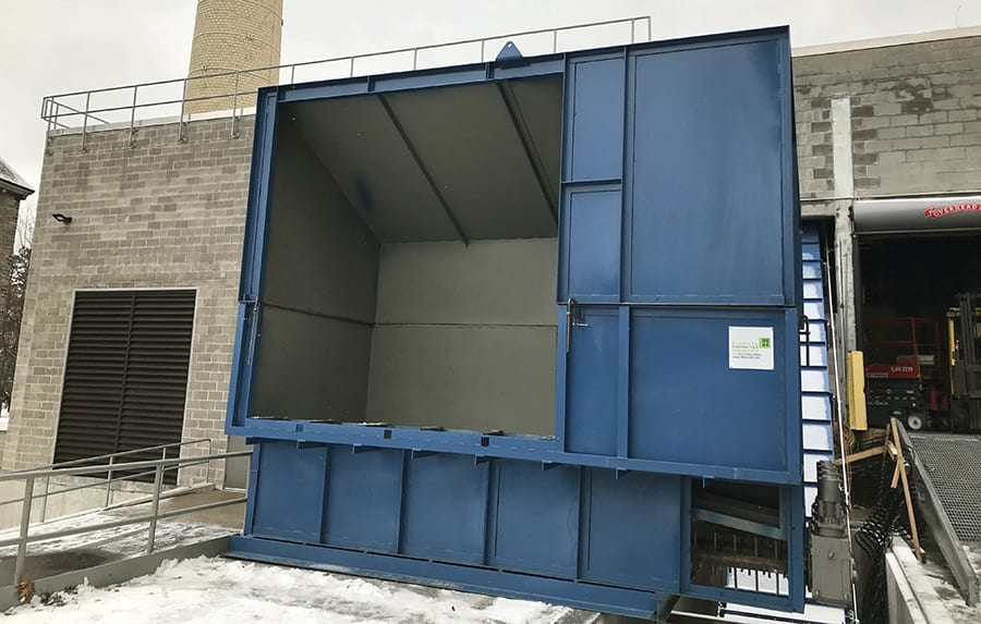 receiving chip bin for trailers with walking floors