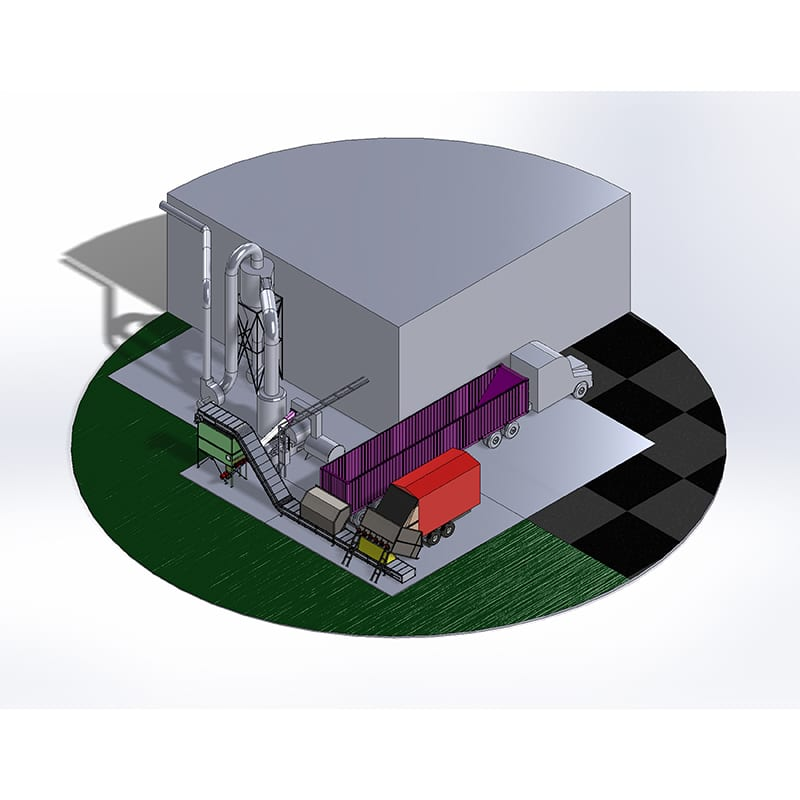 Automating Infeed: Miscanthas Grass bulk material receiving, infeed, and shredding. Pellet manufacturer.