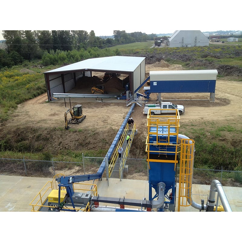 Biomass Storage, Feeder Bin, Horizontal Silo for bulk storage, and drag chain conveyor for gasification