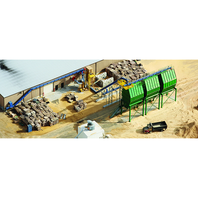 Conveyors for ground pallets at pallet recycler in Midwest.