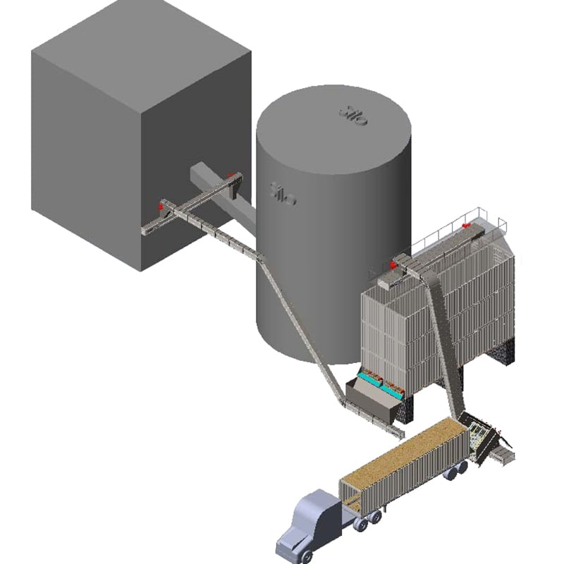 Bulk receiving station from chip trailer to horizontal silo for bulk storage and industrial automation
