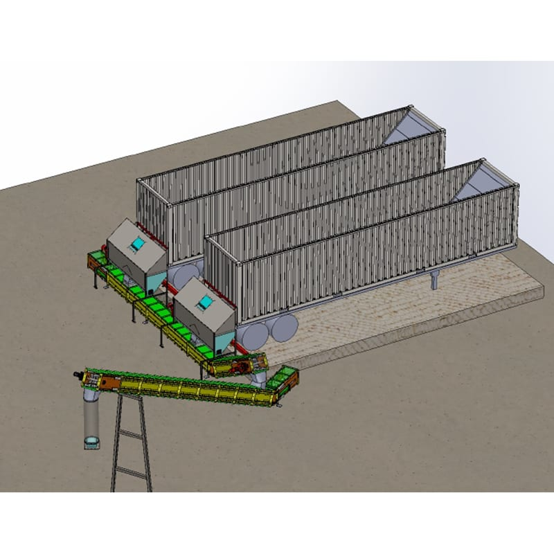 Live floor trailers with feeder bins to drag chain conveyors that feed gasifier.