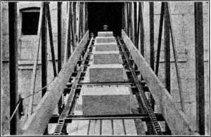 Image from Material Handling Cyclopedia - 1921 - drag conveyor scraper design with roller chains.