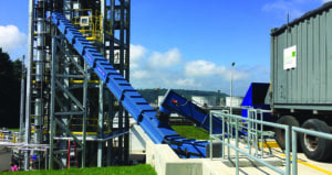 S-Series SMART Conveyor and Horizontal Silo with dust-free receiving at Lockheed Martin gasification tower in Owego, New York