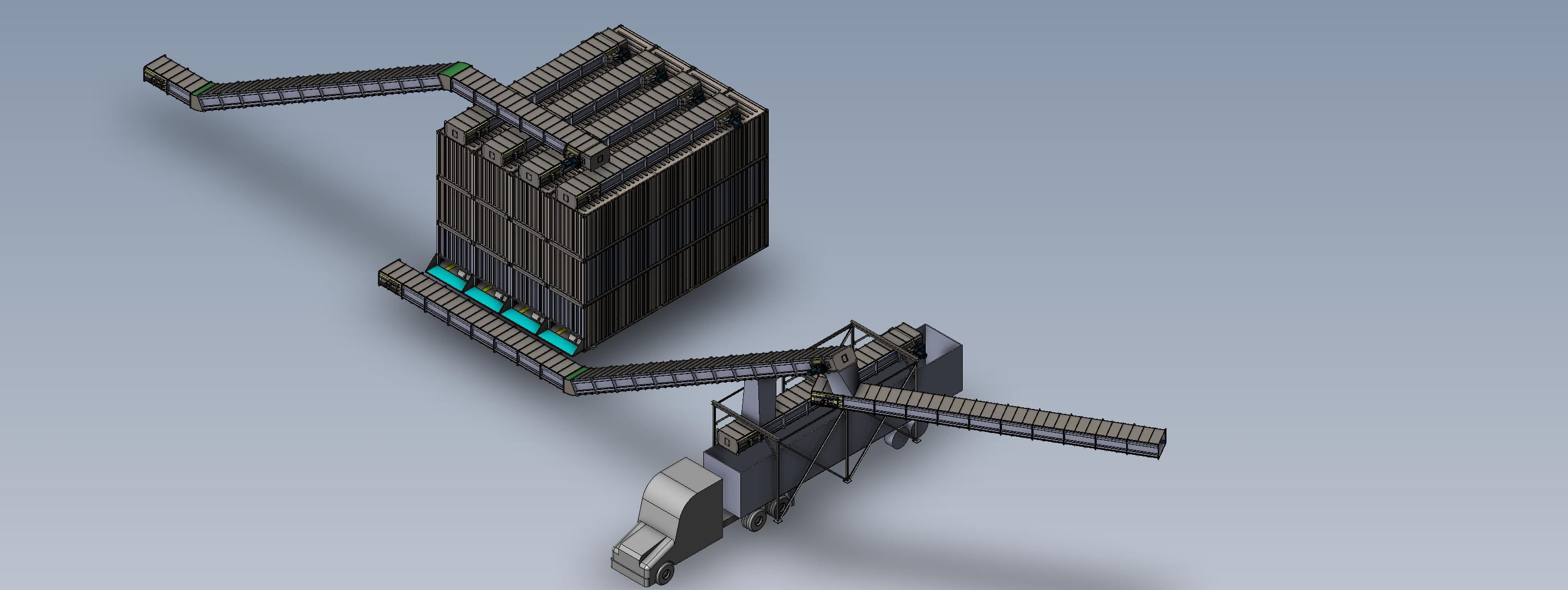 drag conveyors to silos to trailer loading station - material handling equipment