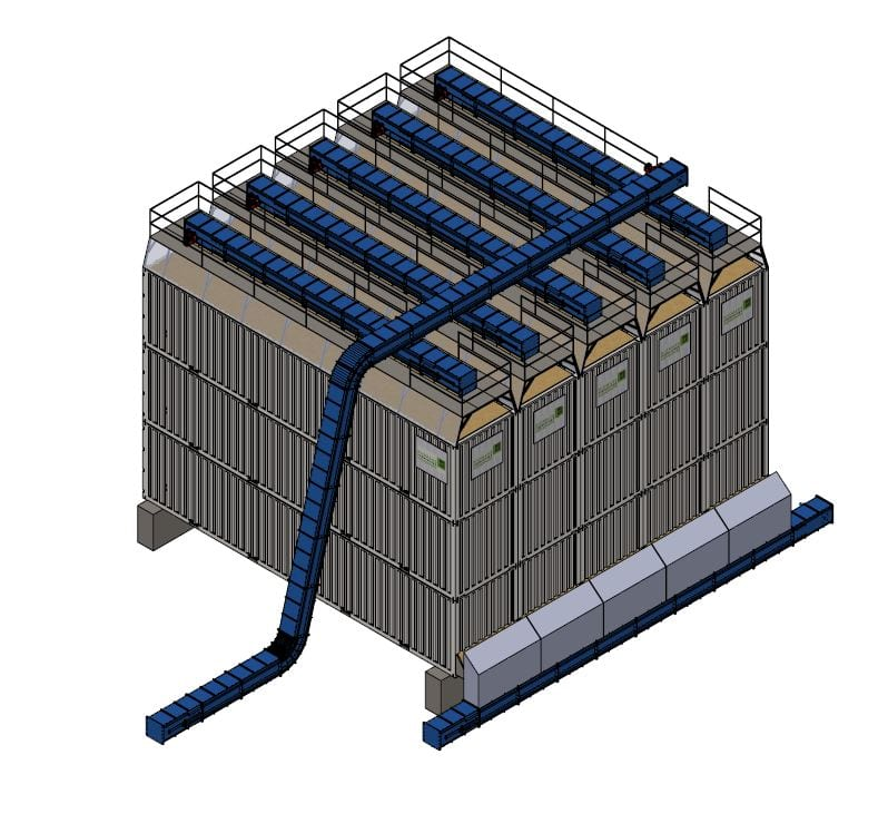 Horizontal silos stacked in modular configuration for automated material handling.