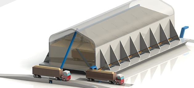 Rendering of storage building with SMART Floors: moving floors for material handling automation